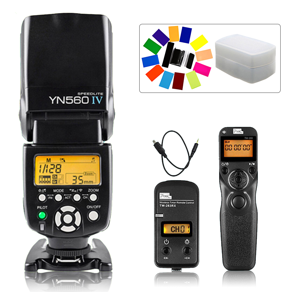 YONGNUO YN560 IV YN-560 IV Flash Speedlite & Pixel TW-283 DC2 Shutter Release For Nikon D5000 D3300 D3200 D3100 D750 D600 D90 2 5mm remote shutter release cable connecting for nikon df d750 d7100 d5500 d5300 d3200 d3300 d600 d610 d90 as 3n n3 dc2 cable m