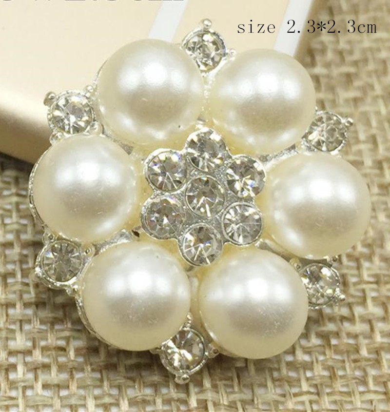 23 MM Round rhinestone applique button sew on with pearl embellishment hair flower garment HAT diy accessories 12pcs/lot MYQB037