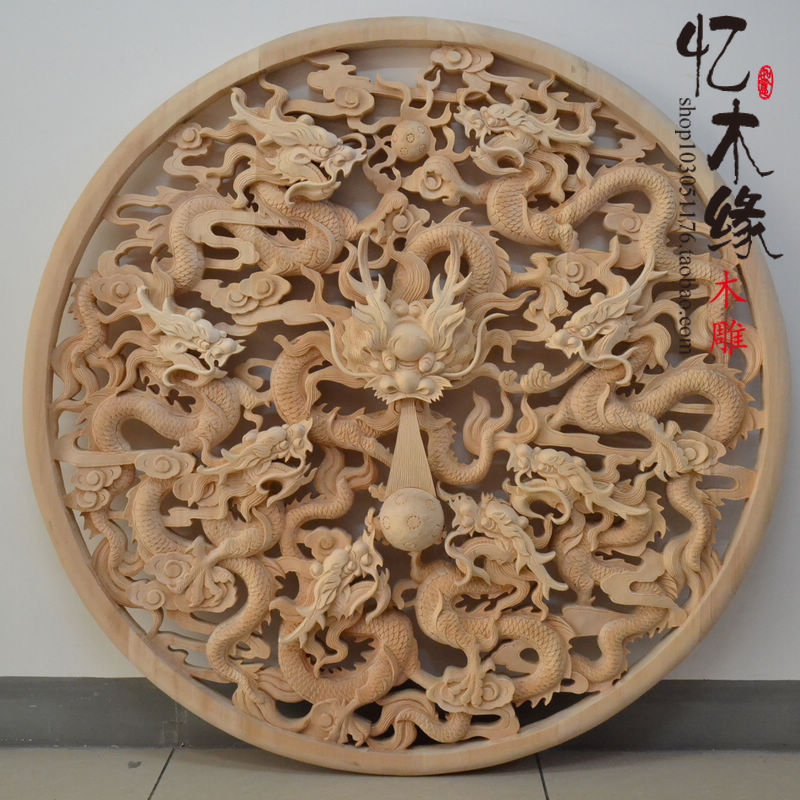 Dongyang wood carving 1.2 meters round figure Home Furnishing jewelry pendant Kowloon Feng Shui background wall mural wall entra xinqite home furnishing ornaments product suspension globe round 3 inch 85mm blue english version of the spot