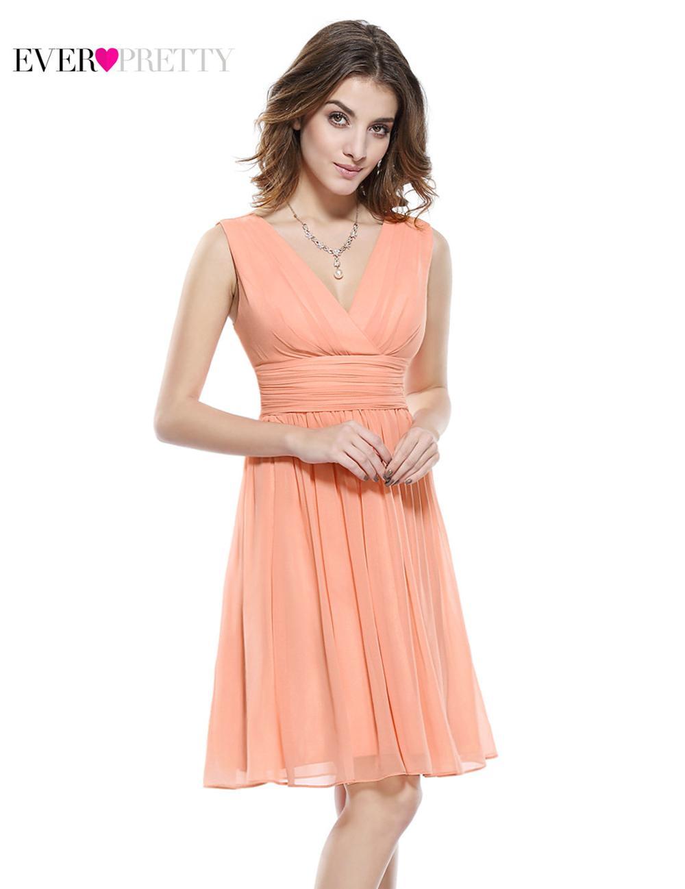 Цветы розовый персик коралловый цвет одно плечо шифон короткие элегантные коктейльные платья HE03535 новое поступление - Цвет: EP03989PE