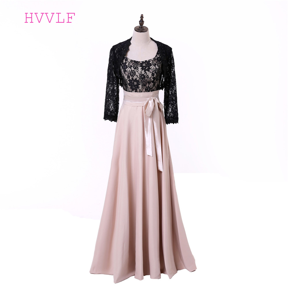 Black 2019 Mother Of The Bride Dresses A-line Scoop Chiffon Lace With Jacket Groom Plus Size Long Mother Dresses For Wedding