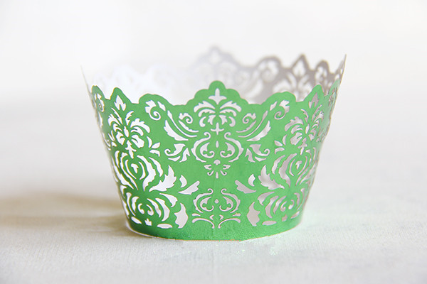Free Shipping Green Royal Lace Wedding Cupcake Wrappers