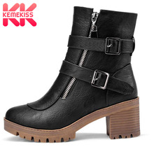 KemeKiss Size 34-43 Sexy Women Ankle High Heel Boots Zipper Winter Shoes Metal Buckle Thick Warm Short Botas