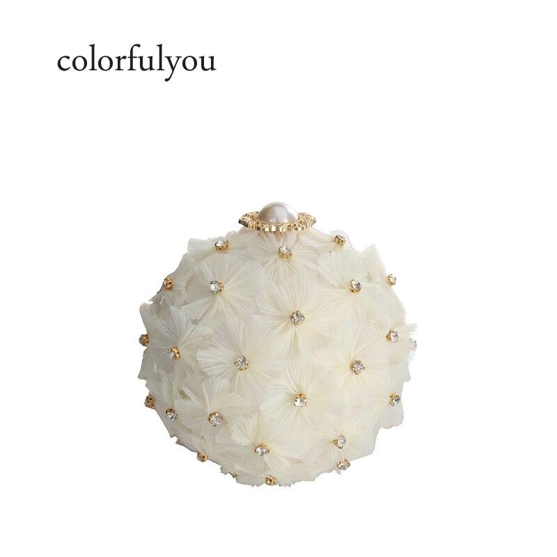 c5f17c0d21 Mariage Main Chaîne Fleur Boule Perle Sac White Pochette Cercle Diamant  Femmes Bandoulière Soirée À Acrylique ...