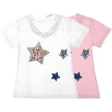 Summer Girl T-shirts Short Sleeve Tops cotton Star Print T-shirt Girls Tshirt Casual Clothing for Children Girls Pullover Tops