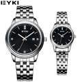 EYKI 2017 Couples Watches Business 30 M Waterproof Office Men Women Wristwatch Male Stainless Steel Belt Lovers Quartz Watch