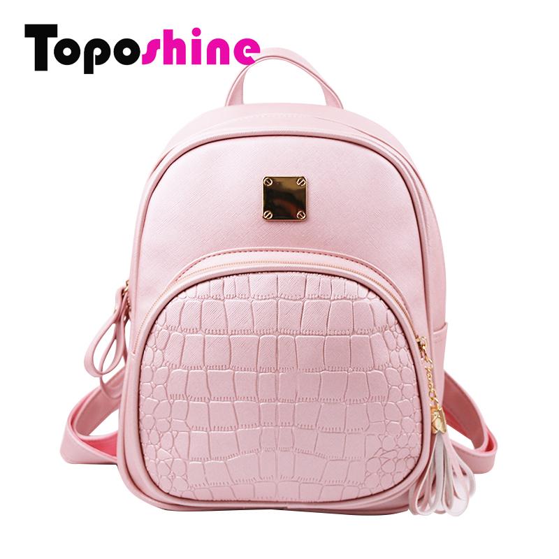Prix pour Toposhine 2016 nouvelle-coréen sacs à dos de mode pu sac à bandoulière en cuir crocodile motif petit sac à dos école en relief sacs 1560