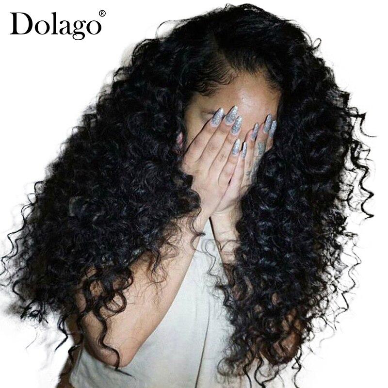 Глубоко вьющиеся Синтетические волосы на кружеве натуральные волосы парики для Для женщин 250% плотность бразильские волосы Синтетические в...