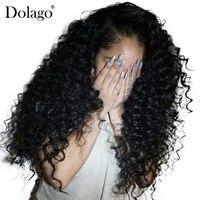 Глубоко вьющиеся Синтетические волосы на кружеве человеческих волос парики для Для женщин 250% плотность бразильские волосы Синтетические в