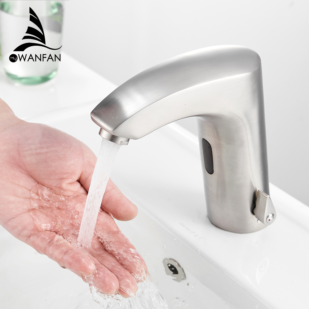 Bathroom Faucet Electric Automatic Sensor Faucet Touchless Kitchen Sink Basin Battery Power Hot And Cold Water Mixer Taps 8024SN