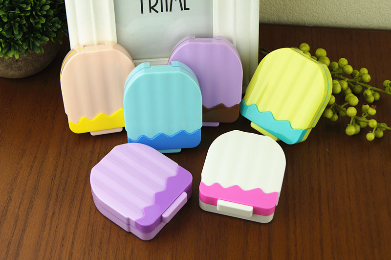 Free Shipping Women's Men's <font><b>Hot</b></font> sale Cartoon ice cream Dual Case Container contact lenses mate box Glasses case Gift Idea B09