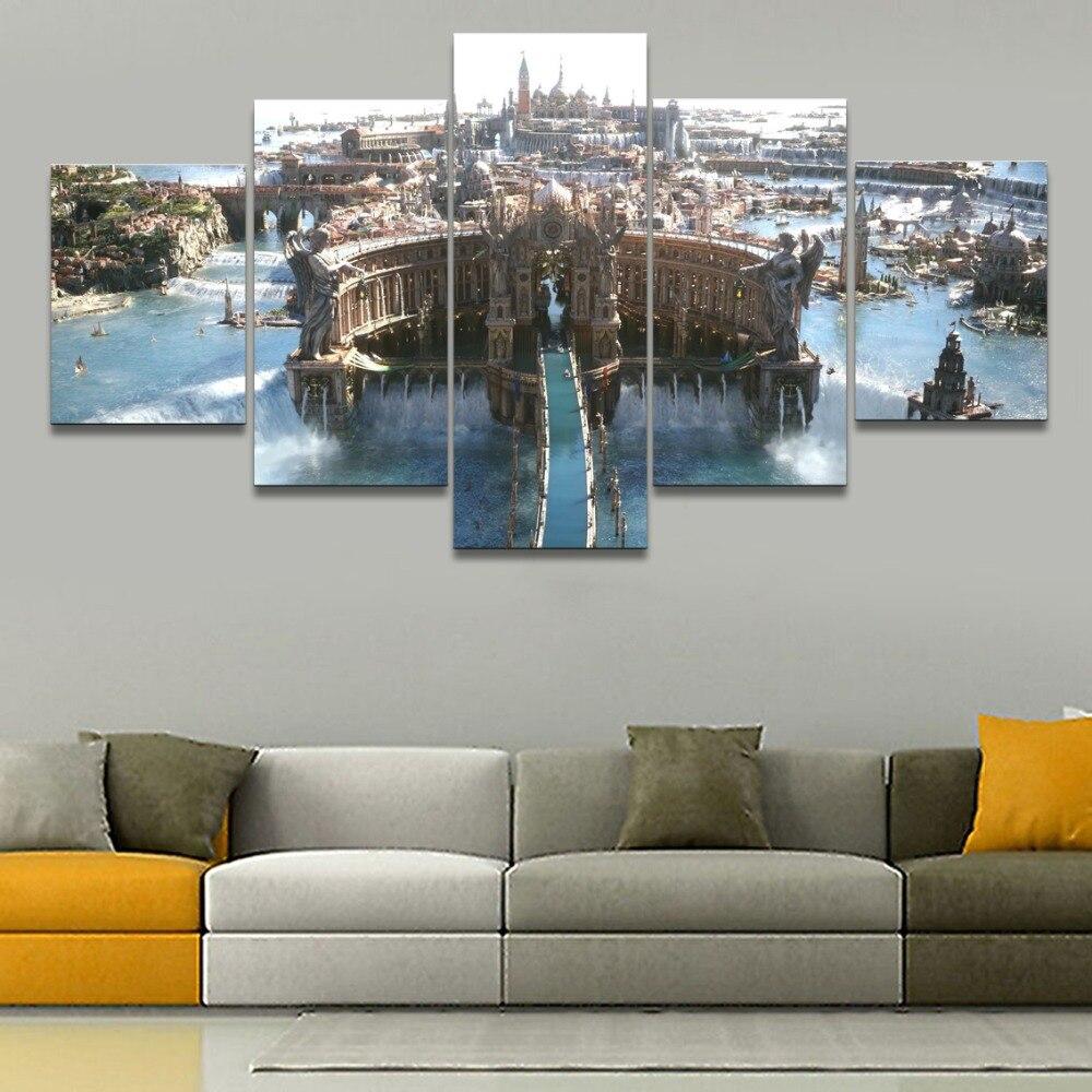 Arte Da pintura de Parede Imagem Modular Para Sala 5 Painel Do Jogo Final Fantasy XV Castelo Edifício Casa Decoração Cópias Da Lona quadros