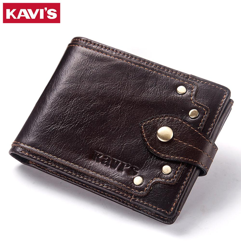 KAVIS 100% Genuine Leather Wallet Men Male Coin Purse Portomonee Clamp For Money Short Pocket Card Holder Hasp Quality Button
