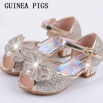 Children Sandals For Girls Weddings Crystal High Heel Shoes Banquet Pink Gold Blue GUINEA PIGS Brand