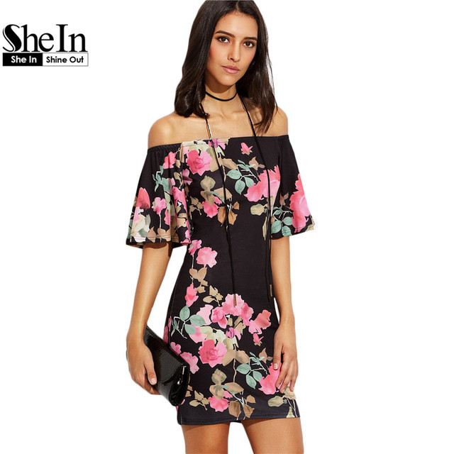SheIn, Vestidos Elegantes Para Las Mujeres Señoras Del Verano Multicolor Impresión Floral de Manga Corta Fuera Del Hombro Vestido Ajustado