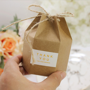 Image 5 - 50pcs Creative Kraft Paper Package Cardboard Box Lantern Hexagon Craft Gift Candy Box Party Wedding Favors Gift Packaging Paper