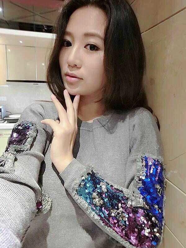 2016 spring European Women's basic round neck sequins sleeve stitching tassels colorful female sweaters pullovers