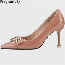 4a29e5735c85 FragrantLily 2019 Fashion Women High Heels Solid Color Sexy Shallow Mouth Woman  Shoes Banquet Wedding Popular