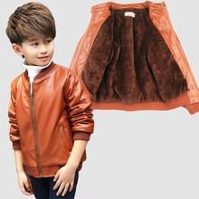 цена Kids PU jacket Boys jacket Girls outerwear Infant leather jackets Jongens jas Spring Autumn coat Winter jacket Faux fur lining