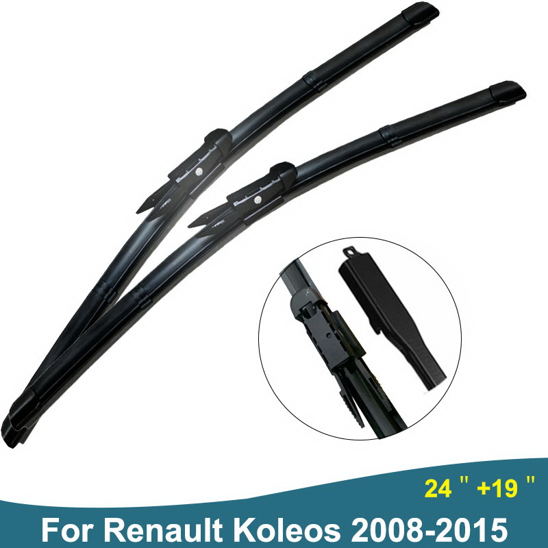Car Wiper Blade For Renault Koleos Windscreen Wipers Rubber Windshield Brushes Fit Pinch Tab From 2008 to 2015