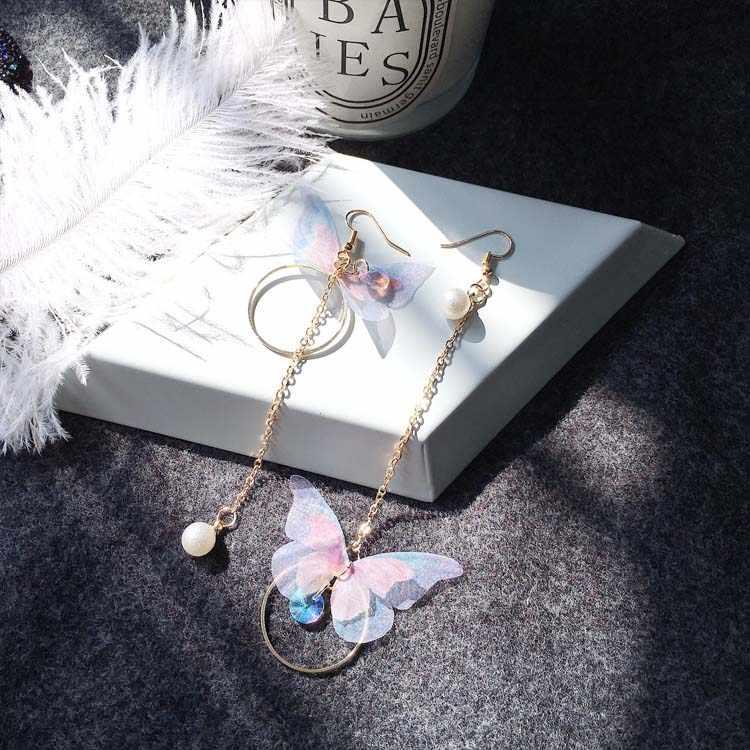 2019 New Arrivals Fashion Round Brincos Oorbellen Long Statement Asymmetric Color Butterfly Tassel Drop Earrings Women Jewelry