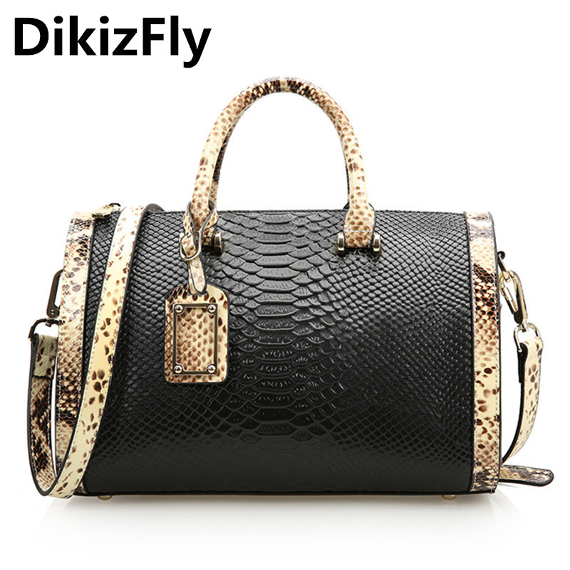 DikizFly Handbag Women Messenger Bag Genuine Leather Women Bags Famous Brand Fashion Ladies Shoulder Bag Serpentine totes Boston dikizfly soft genuine leather women handbags casual totes bag real leather brand work handbag purse elegant messenger bags bolsa