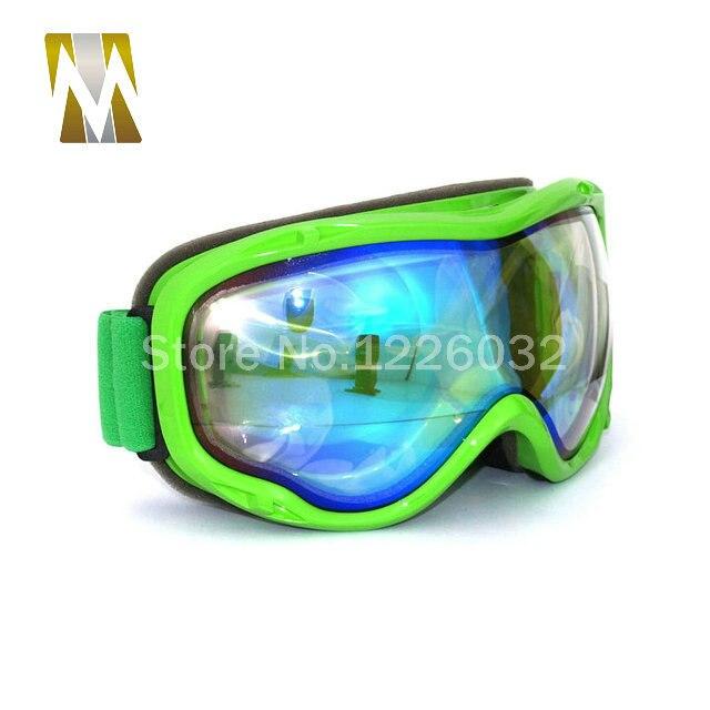 Зеленый Рамки лыжные очки Мотокросс Google Dual линзы UV400 очки Анти-туман снег лыжи очки сноуборд Google Очки