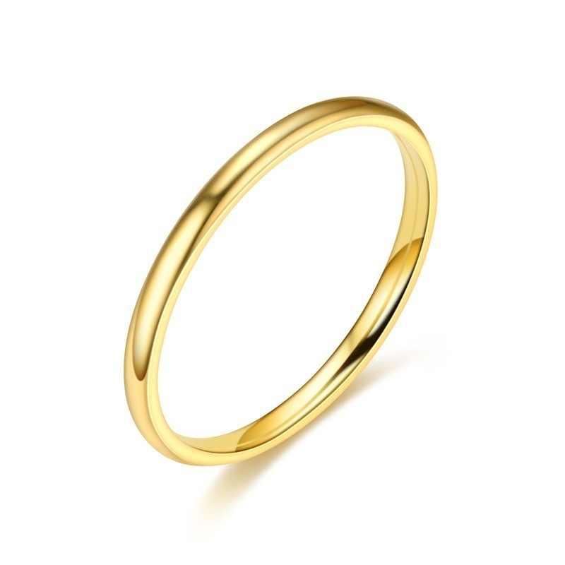 2mm טיטניום פלדה מאוד פשוט בסדר טבעות לגבר נשים כסף זהב שחור עלה זהב רב תכשיטי נקבה חתונה מתנת טבעת