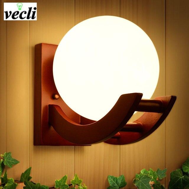 US $24.38 52% di SCONTO|Retro in legno massello applique da parete per  camera da letto soggiorno, parchme scale corridoio corridoio Illuminazione  ...