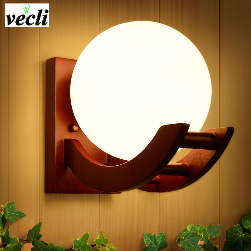 Retro solid wooden wall light for bedroom living room ,parchme stair aisle corridor Home Lighting Wall Sconce,E27 wall light bra ...