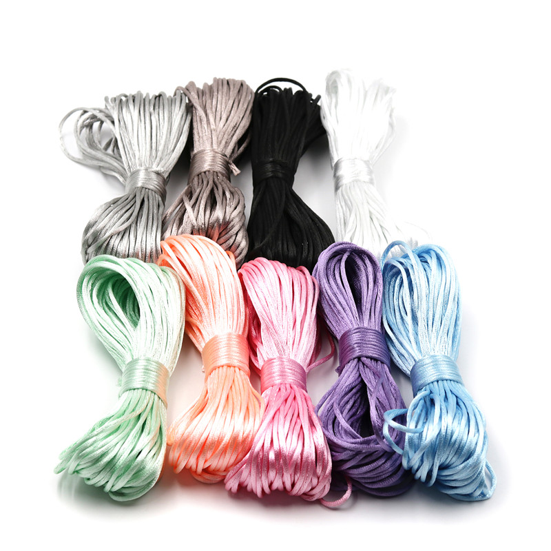 20 Meters Satin Nylon Cord 2mm Silk Rope For Baby Teether Accessories Teething  Pacifier Clips Chain DIY Project