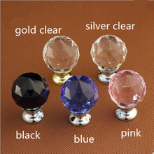 30mm black blue pink clear k9 crystal drawer shoe cabinet knob pull silver gold diamond head dresser door handle fashion deluxe