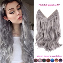 14 Inch Grey Silver Hair No Clip Hair Extension Brazilian Natural Wave Invisible Synthetic Halo Hair Extension Flip In Fake Hair