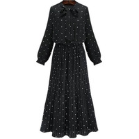 2017 Autumn And Winter New Women Fashion Long Dress Dot Long Sleeved Chiffon Bow Temperament Women