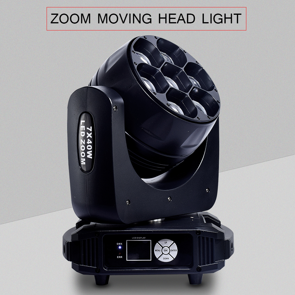 ZOOM RGBW 4in1 moving head light beam 7x40w dmx512 control with 15/29ch washing effect dj stage professional lighting brightnessZOOM RGBW 4in1 moving head light beam 7x40w dmx512 control with 15/29ch washing effect dj stage professional lighting brightness