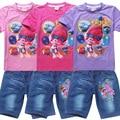 Newest Summer Children clothing Suit Girls Trolls cartoon clothes set kids casual set short sleeve T-shirt and jean shorts