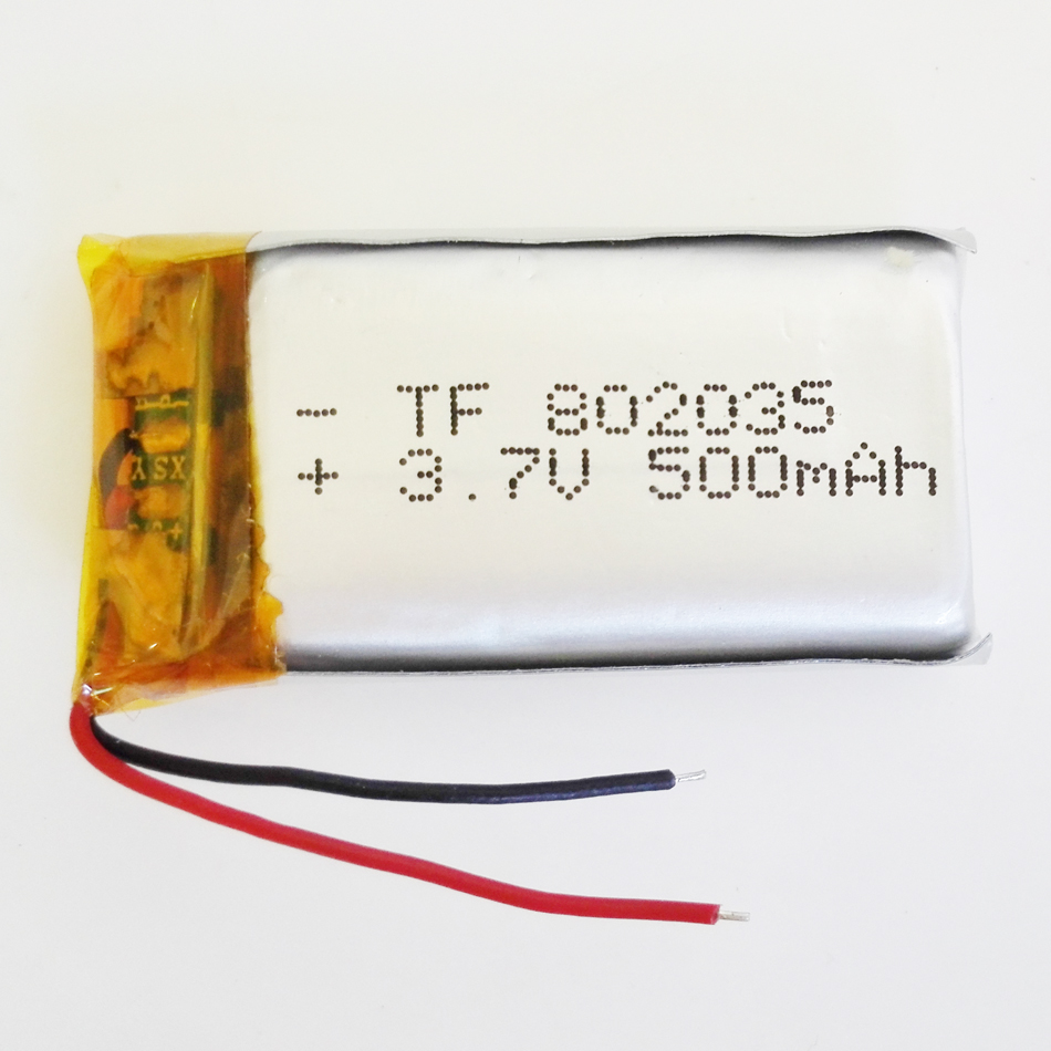 3.7V 500mAh 802035 Lithium Polymer LiPo Rechargeable Battery For Mp3 Mp4 Mp5 DIY PAD DVD E-book bluetooth headset mobile phone