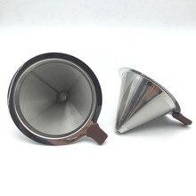 Die Neue Tragbare metall filtersieb edelstahl kaffee filter-trichter/V-filter tasse filter drip coffee und tee werkzeuge