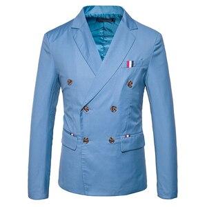 Image 3 - 新 2019 スリムカジュアルスーツのジャケットの男性のダブルブレスト秋冬ファッションパーティー無地フィットスーツコート男性 EU/us サイズ