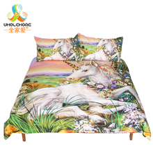 White Unicorn Bedding Set Soft Floral Printed Duvet Cover Set With Pillowcase Queen Size Kid's Bed Cover Set Home Textile 3 Pcs(China)