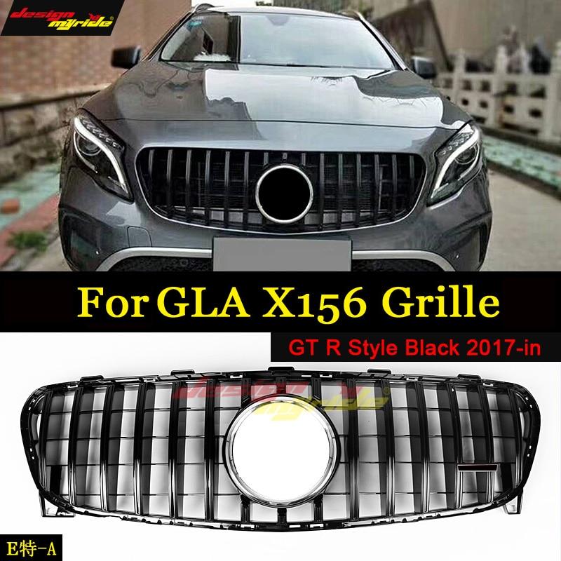 Se encaixa para mercedesmb gla-classe x156 esportes grade gt r preto gla200 gla250 gla45amg olhar grills dianteiros sem sinal 2017-em
