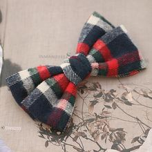 British Style Large Plaid Bow Hair Clips For Girls Checked Boutique Hair Bows Barrettes Claw Clips Hair Accessories For Women