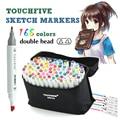 Dibujo conjunto de marcadores TouchFive 168 colores dibujo marcadores pluma Alcohol Dual hacia consejos permanentes Graffiti marcador para los niños
