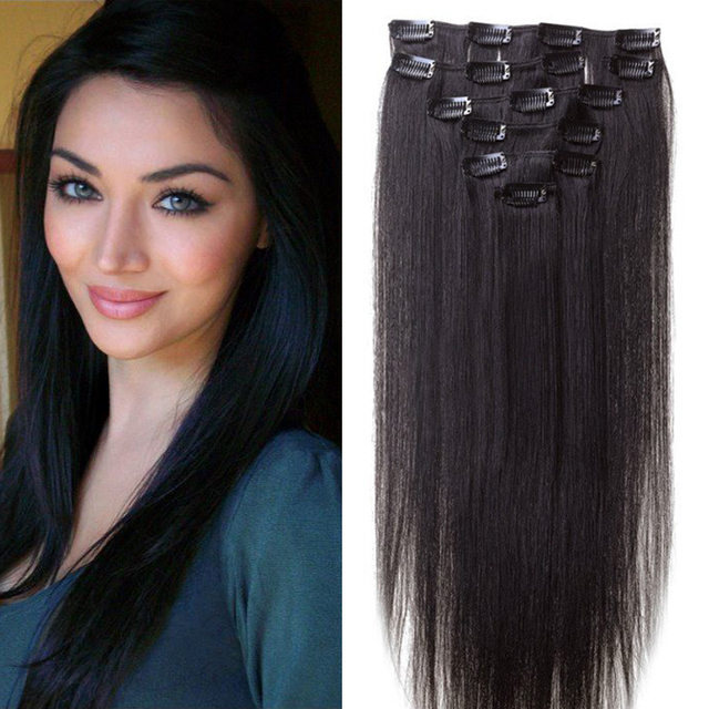 Peruvian Clip In Hair Extensions Straight Long Clip Hair Extension