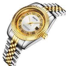 Мужчины часы кварцевые бизнес роскошный золотой алмаз моды марка GIMTO нержавеющая сталь классический календарь водонепроницаемые наручные часы