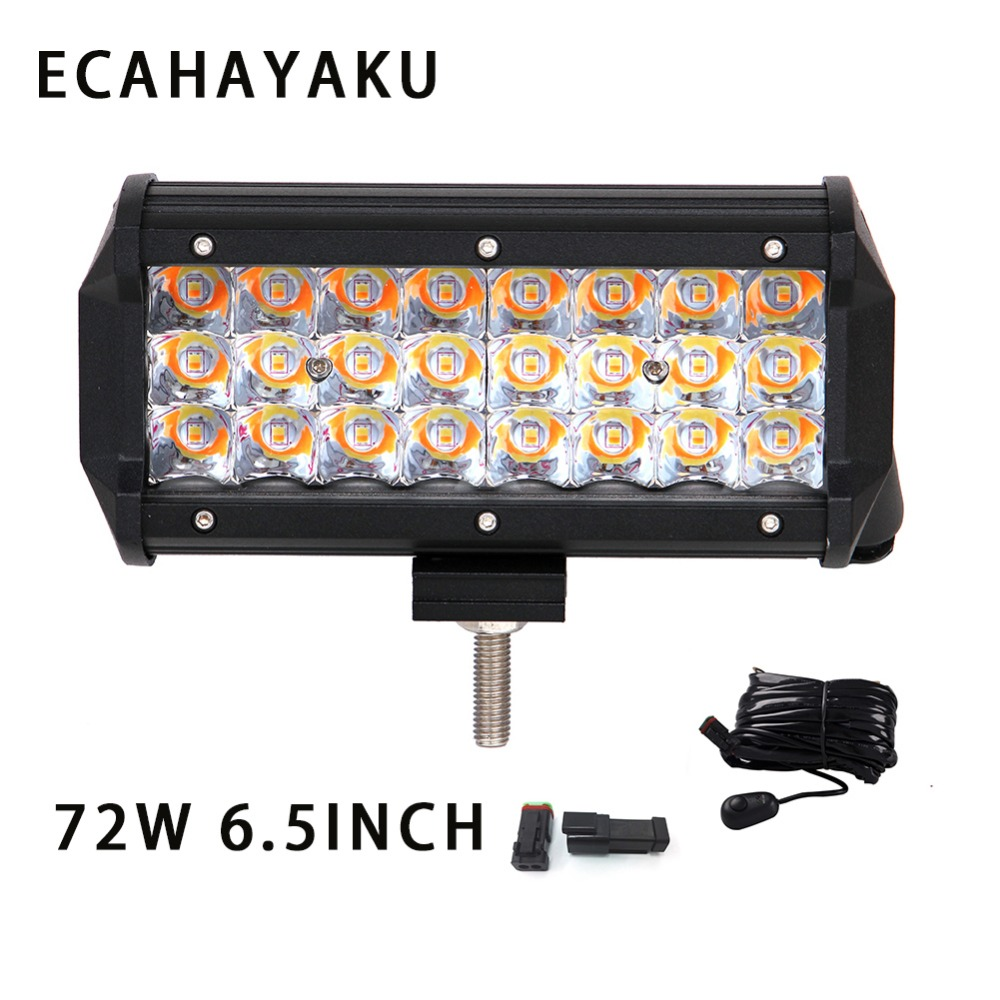 ECAHAYAKU 2x 6 5inch 72w 3 Rows Spot beam LED Work Light Bar 12V 24V for Offroad tractor Car Truck SUV ATV 4X4 4WD Trailer jeep in Light Bar Work Light from Automobiles Motorcycles
