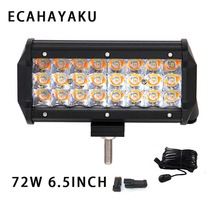 цена на ECAHAYAKU 2x 6.5inch 72w 3 Rows Spot beam LED Work Light Bar 12V 24V for Offroad tractor Car Truck SUV ATV 4X4 4WD Trailer jeep
