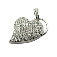 Heart USB Flash Memory Stick USB 2 0 Flash Pen Drive Business Gift Crystal Necklace