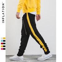 INFLATION 2017 Autumn Mens Sweatpants Side Stripe Letter Printing Contrast Color Jogger Elastic Waist Mens SweatPants