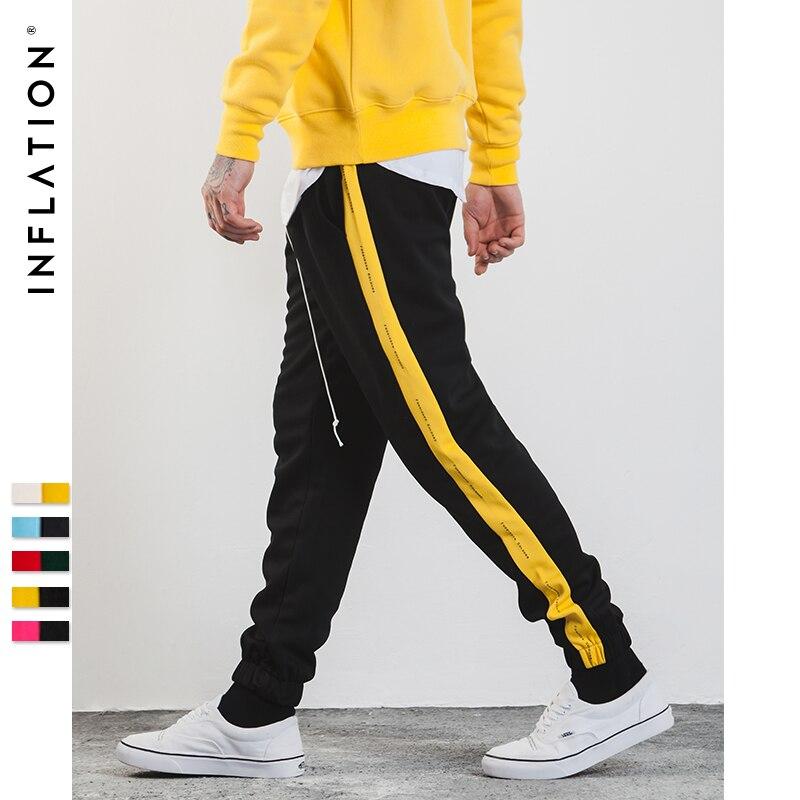 INFLATION 2018 hombres Sweatpants lateral carta raya impresión contraste Color Jogger elástico cintura Mens SweatPants 357W17